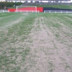 Pitch after heavy layer of sand applied