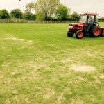 Overseeding a rugby pitch